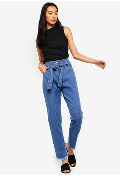 ef74cce83f8 51% OFF ZALORA Mom Fit Jeans With Self Tie RM 119.00 NOW RM 58.90 Sizes XS  S M L XL