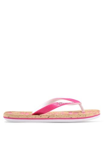 Superdry white and pink Cork Colour Pop Flip Flop SU137SH0T1ZAMY_1