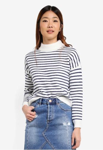Miss Selfridge 多色 Stripe Funnel Neck Jumper C5DAAAA7ADDF41GS_1