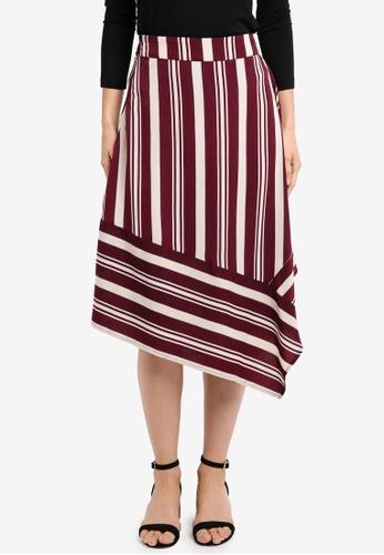 ZALORA red Asymmetrical Drape Skirt 18797AAB720F13GS_1