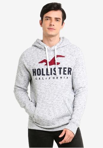 Hollister 灰色 混色LOGO印花刺繡帽T B817CAA667E738GS_1