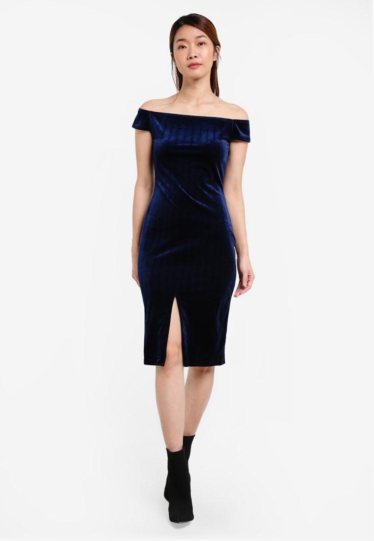Navy Shoulder Dress Slit Off Velvet Something Bodycon Borrowed w787Yaxq