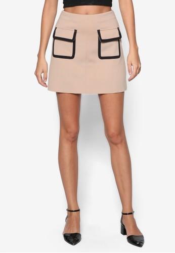 撞色滾邊翻蓋口袋短裙, 服飾, zalora 衣服評價迷你裙