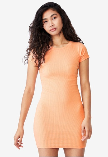 Supre orange Lucia Rib Tee Mini Dress F7B71AA36A4FF9GS_1