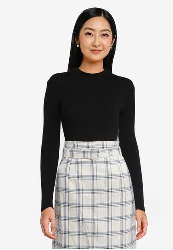 LOWRYS FARM black Ribbed Knit Pullover Sweater C721CAA56BA297GS_1