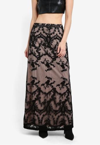 Something Borrowed black Lace Column Maxi Skirt 442E1AA30B0DB8GS_1
