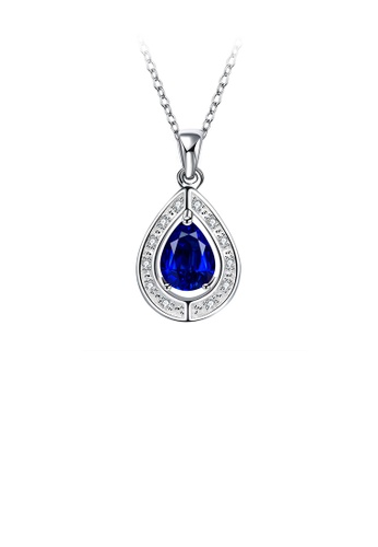 Glamorousky white Fashion and Elegant Water Drop-shaped Pendant with Blue Cubic Zircon and Necklace 35D46AC69A2DF1GS_1