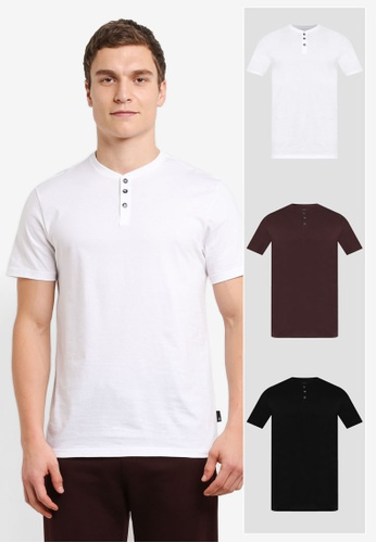 Burton Menswear London 白色 3 Pack White Black And Rasin Grandad T-Shirt BU964AA0SHO7MY_1