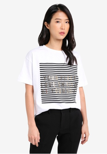River Island white First Love Stripe Box Tee RI009AA0SJCYMY_1