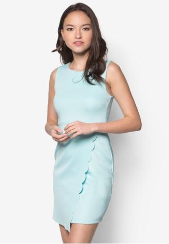 Diane 裹式扇貝無zalora taiwan 時尚購物網鞋子袖洋裝, 服飾, 服飾