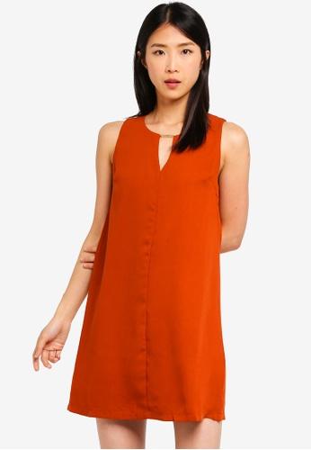 ZALORA BASICS orange Basic Neck Details Shift Dress 36665AA8A279E2GS_1