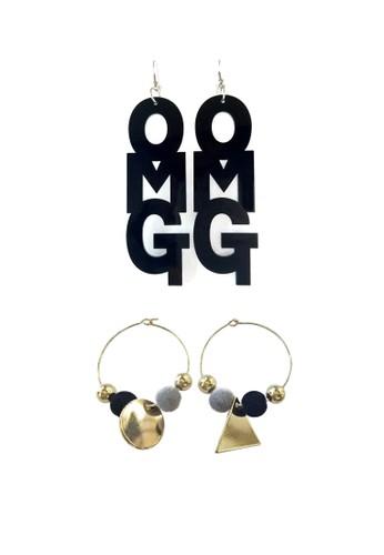 La Miina black and gold Pilar Velvet Hoop Earrings & Brooklyn Text Black Earrings 84855ACA6C5DA6GS_1