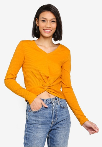 Joska Long Sleeve V-Neck Crop Top from Pieces in Yellow