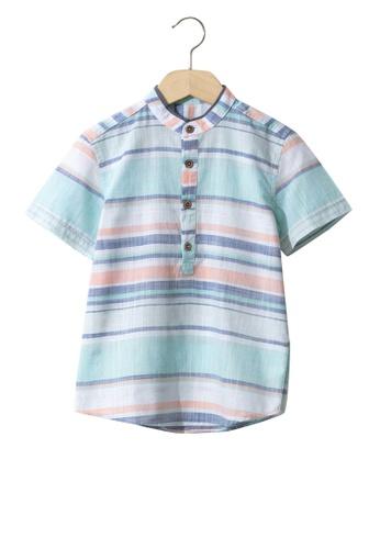 LC Waikiki blue Boy's Striped Poplin Shirt 50964KA8F5F365GS_1