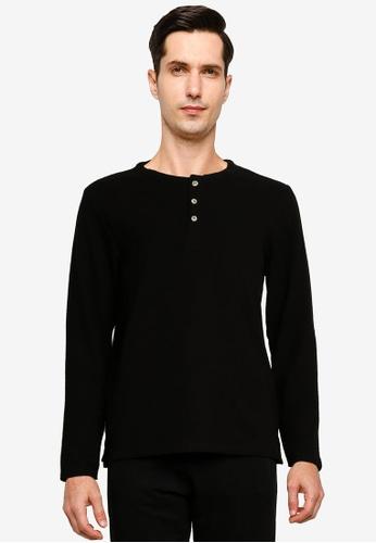Electro Denim Lab black Dobby Long Sleeves Tee C1B3BAA06A8988GS_1