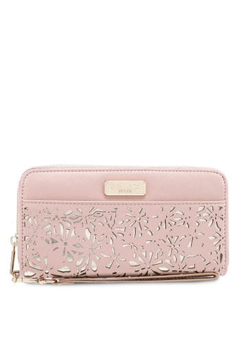 Unisa pink Perforated Facile Ladies Zip-Up Wallet 85B2FACF13D85FGS_1
