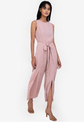 ZALORA BASICS pink Fake Wrap Sleeveless Jumpsuit 5BA95AAE9DCE1BGS_1