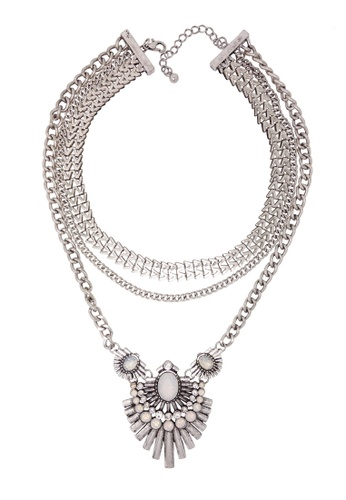 Jaysa Collection silver Designer Antique Silver Statement Necklace 88786AC024497CGS_1