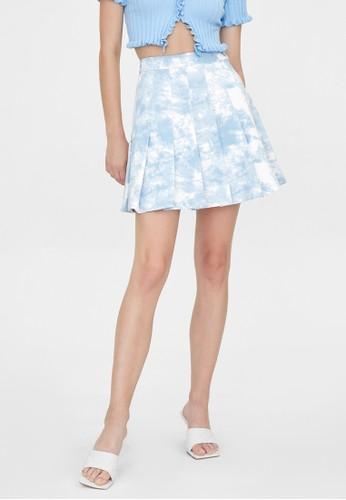 Pomelo blue Tie Dye Pleated Skirt - Blue 20EB3AAF21E78CGS_1