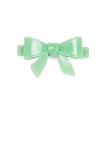 Glamorousky green Simple and Cute Light Green Ribbon Large Hair Slide C73F8AC271E3F1GS_1