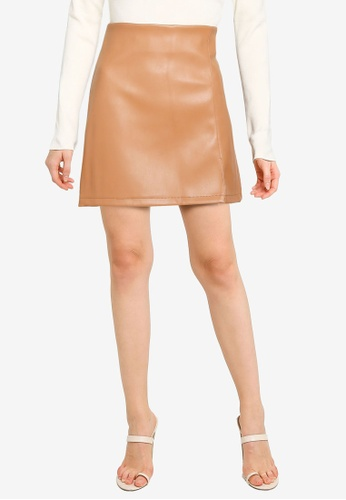 Miss Selfridge brown Tan Pu Split Hem Skirt E929FAAD9762AEGS_1