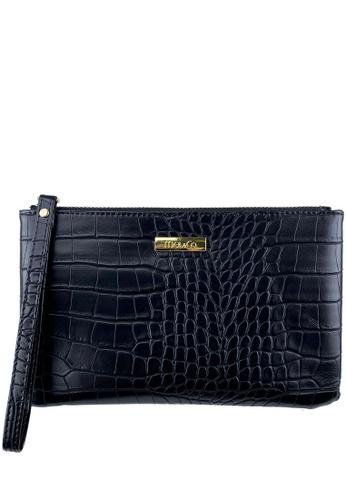 Mel&Co black Faux Leather Croco Embossed Wristlet 7315AAC2BB2F1FGS_1