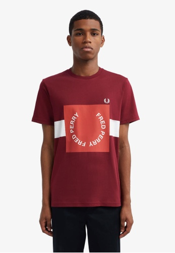 Fred Perry red M8521 - Bold Graphic T-Shirt - (Tawny Port) 303EEAABFD3D0DGS_1
