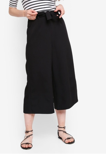 Something Borrowed black Culottes Pants With Self Tie 65A9FAA949ECE2GS_1