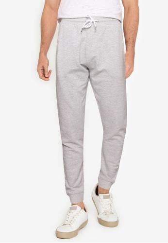 !Solid grey Basic Sweatpants 4A2CBAA109ED84GS_1