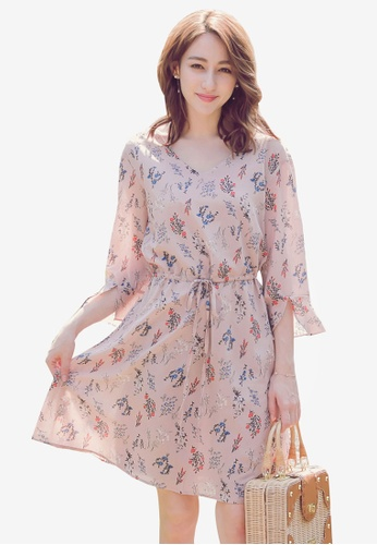 Yoco pink Floral Printed Ribbon Dress AD663AA7256573GS_1