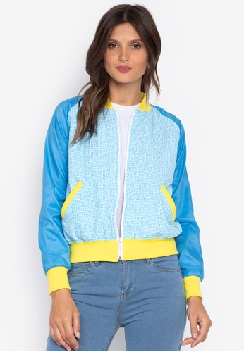 Courier blue Printed Ladies Bomber Jacket 34908AA4B05C18GS_1