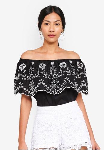 OVS black Embroidered Off Shoulder Top E8218AA504FCB2GS_1