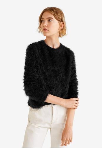 Mango black Faux Fur Knit Sweater 8CB5AAA5412692GS_1