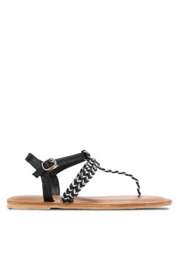 Something Borrowed black Braided T-Strap Sandals 69D2ASH4AB759EGS_1