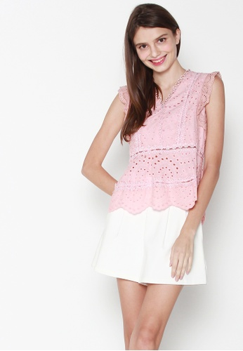 JOVET pink Sleeveless V Neck Embroidery Top 112B8AA184B5BAGS_1