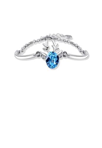 Glamorousky blue Sparkling Deer Bracelet with Blue Cubic Zircon C696FACC23FA63GS_1