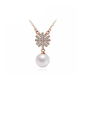 Glamorousky white Elegantly Plated Rose Gold Snowflake Necklace with White Fashion Pearl 99ADFAC0EA64C1GS_1