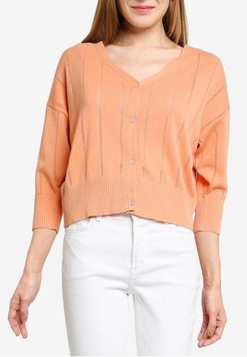 LOWRYS FARM orange Open Work Knit Crop Cardigan D4F70AA6B0E9C0GS_1