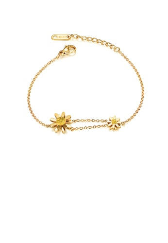 Glamorousky yellow Fashion and Elegant Plated Gold Daisy 316L Stainless Steel Bracelet with Yellow Cubic Zirconia 21FC1ACDD4E5BDGS_1