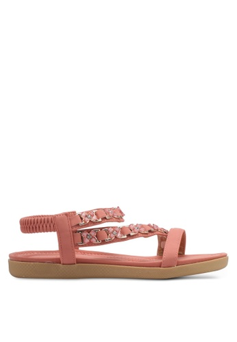 Spiffy pink Strappy Floral  Sandals SP352SH0SRWXMY_1