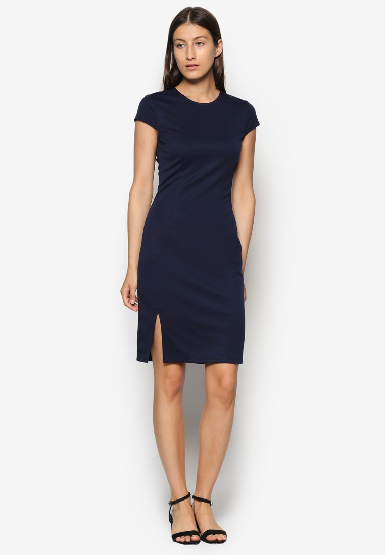 Bodycon 2 Basic ZALORA Pack Dress Slit Black Navy Front vvIzw