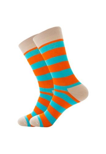 Kings Collection orange Khaki Blue Orange Pattern Cozy Socks (EU39-EU45) DF99BAA619EF91GS_1