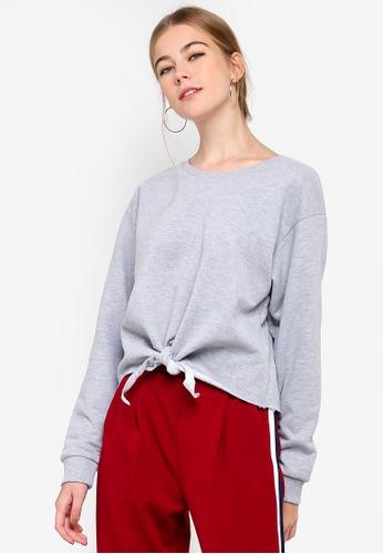 Miss Selfridge 灰色 Knot Front Sweatshirt 1548CAA6B7CB48GS_1