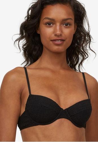 H&M black Padded Bikini Top AE65AUS3F1F3BCGS_1
