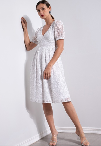 ZALORA OCCASION white Lace Puff Sleeve V Neck Dress F9E6AAAAA2DC0AGS_1