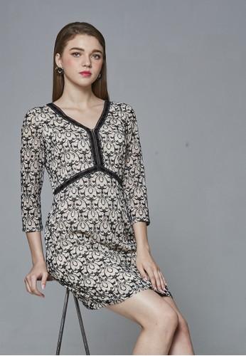 esprit 衣服個性復古蕾絲花圖騰七分袖洋裝, 服飾, 及膝洋裝
