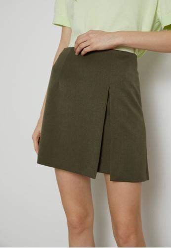 TAV [Korean Designer Brand] High Quality Slit Mini Skirt - Khaki E55E2AA452B09CGS_1