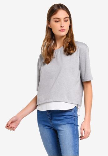 ZALORA BASICS grey Basic Oversized Mixed Fabric Layered Top B4E81AA149E828GS_1
