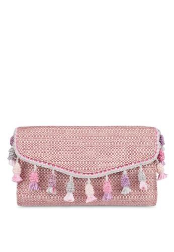 Zalia pink Oversized Jaquard Clutch Bag 0FF43AC33BFED2GS_1