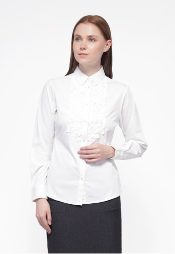 Nicole Exclusives white Nicole Exclusives - Long Sleeves Collared Shirt B3107AA47B014DGS_1